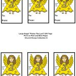 """Angel """"praise The Lord"""" Sunday School Lesson For Kids   Free Printable Angel Gift Tags"""