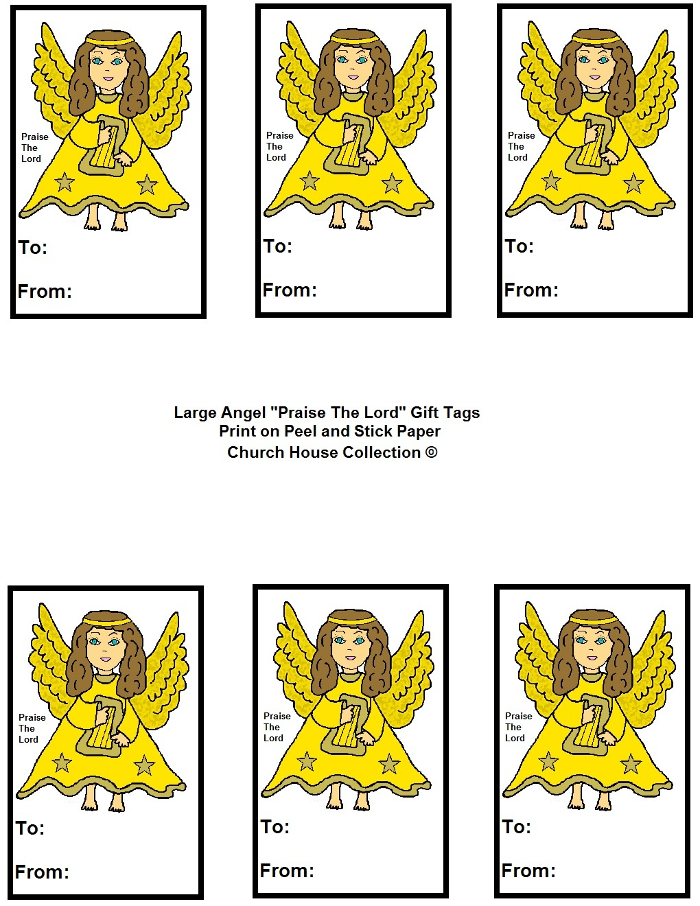 """Angel """"praise The Lord"""" Sunday School Lesson For Kids - Free Printable Angel Gift Tags"""
