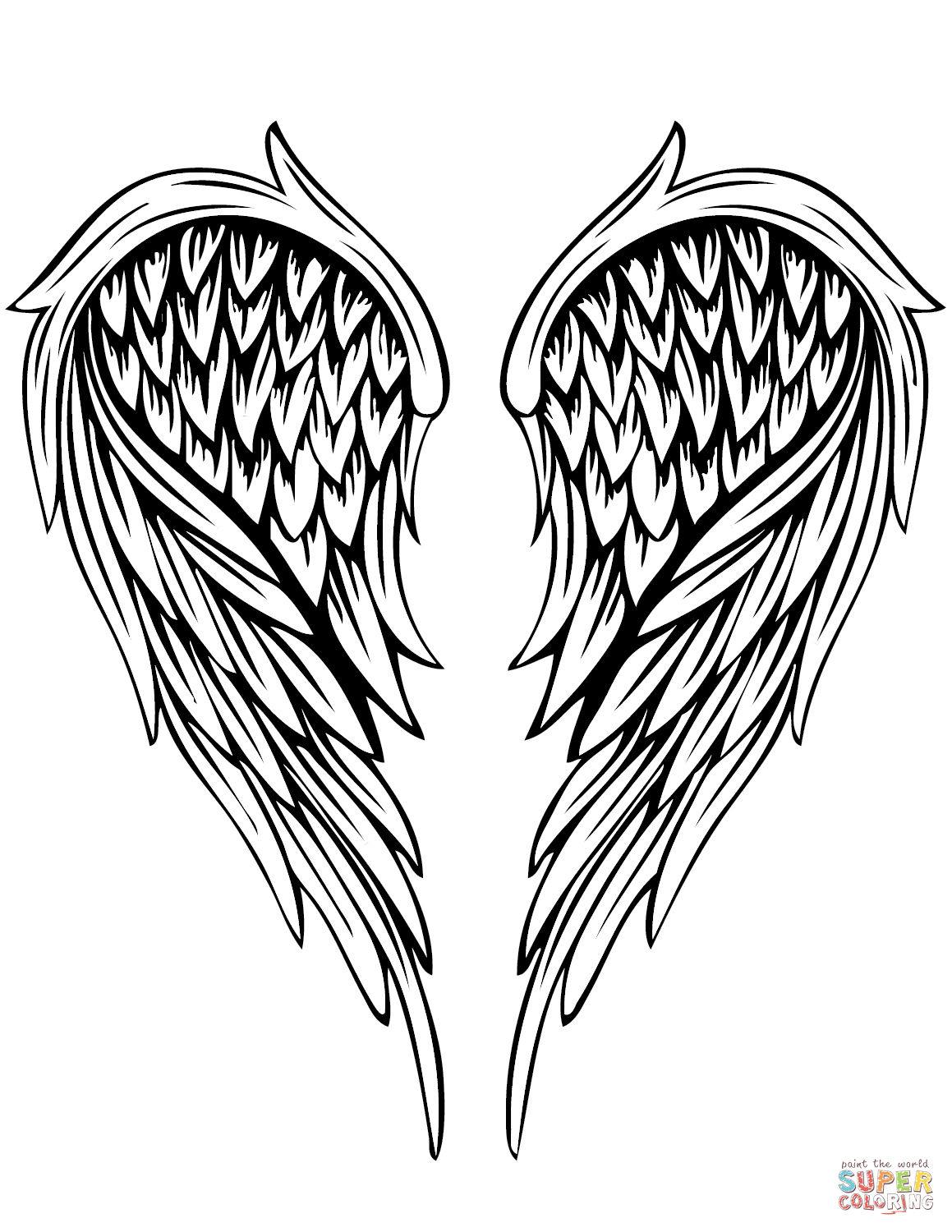 Angel Wings Tattoo Coloring Page | Free Printable Coloring Pages - Angel Wings Template Printable Free