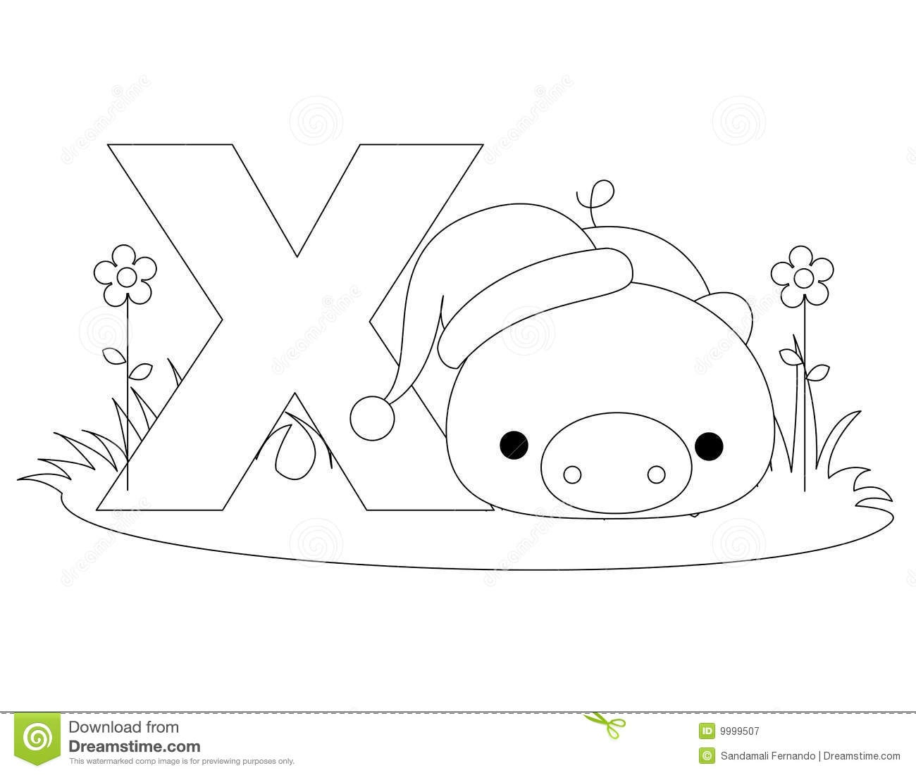 Animal Alphabet X Coloring Page Stock Vector - Illustration Of Book - Free Printable Animal Alphabet Letters