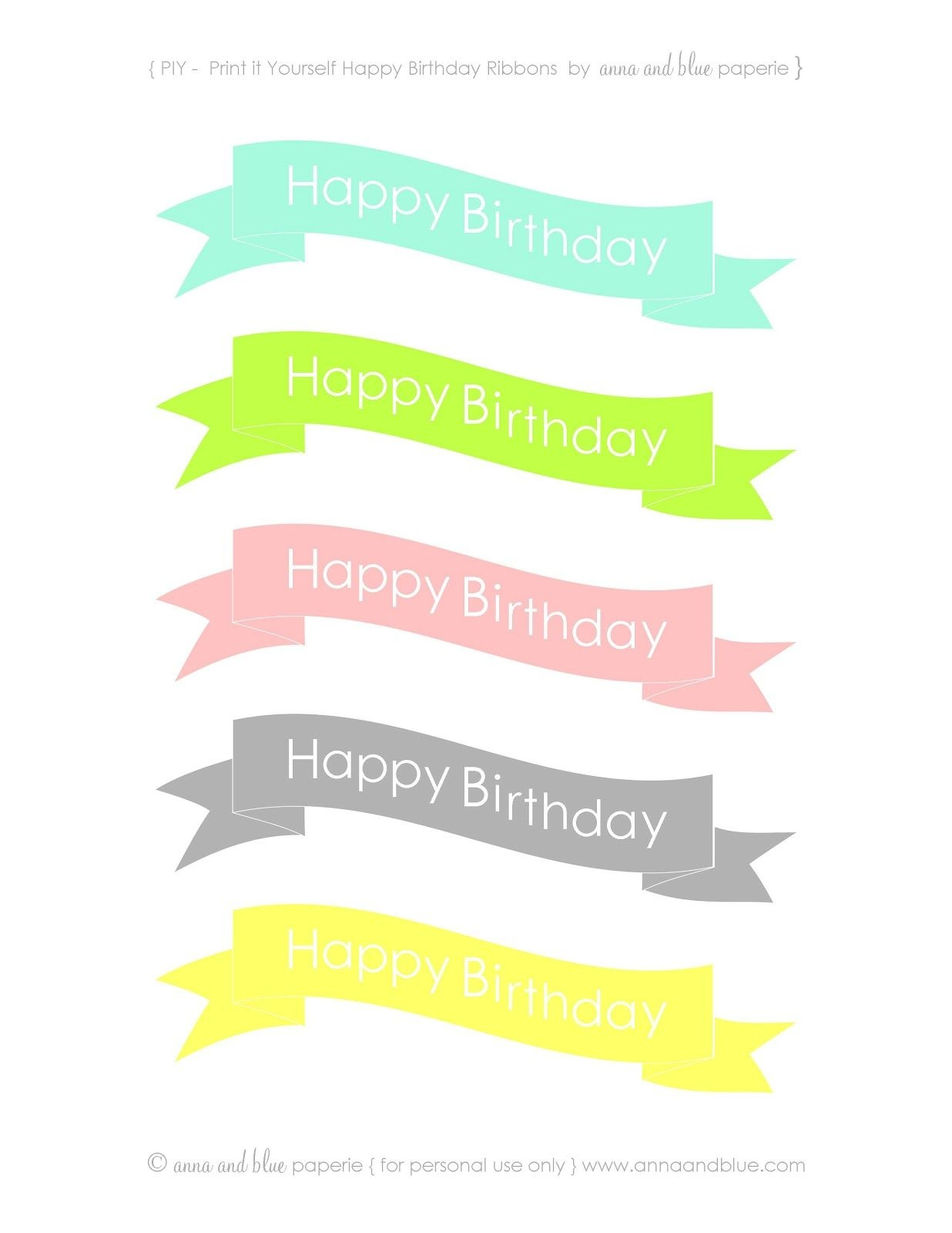 Anna And Blue Paperie: {Free Printable} Happy Birthday Cake Banners - Free Printable Cake Bunting Template