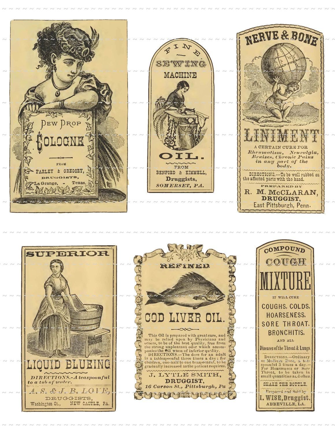 Antique Apothecary Labels Digital Download Vintage Pharmacy Druggist - Free Printable Old Fashioned Labels