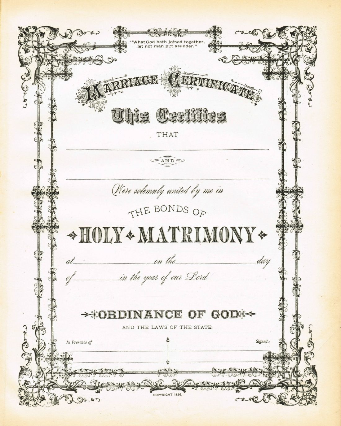 Antique Certificate Of Marriage Printable | English Wedding Project - Fake Marriage Certificate Printable Free