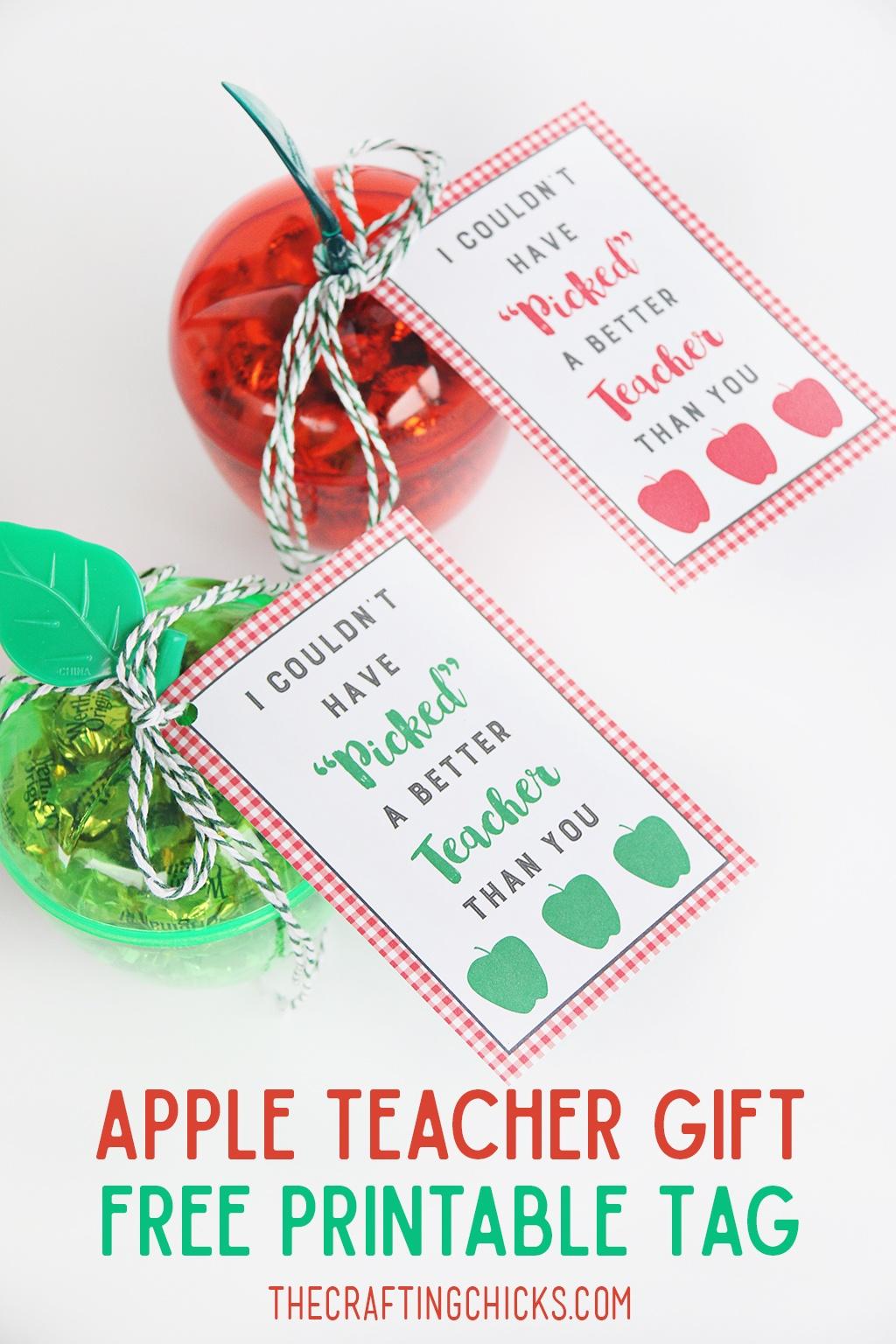Apple Teacher Gift Tag Printable - The Crafting Chicks - Teacher Gift Tags Printable Free