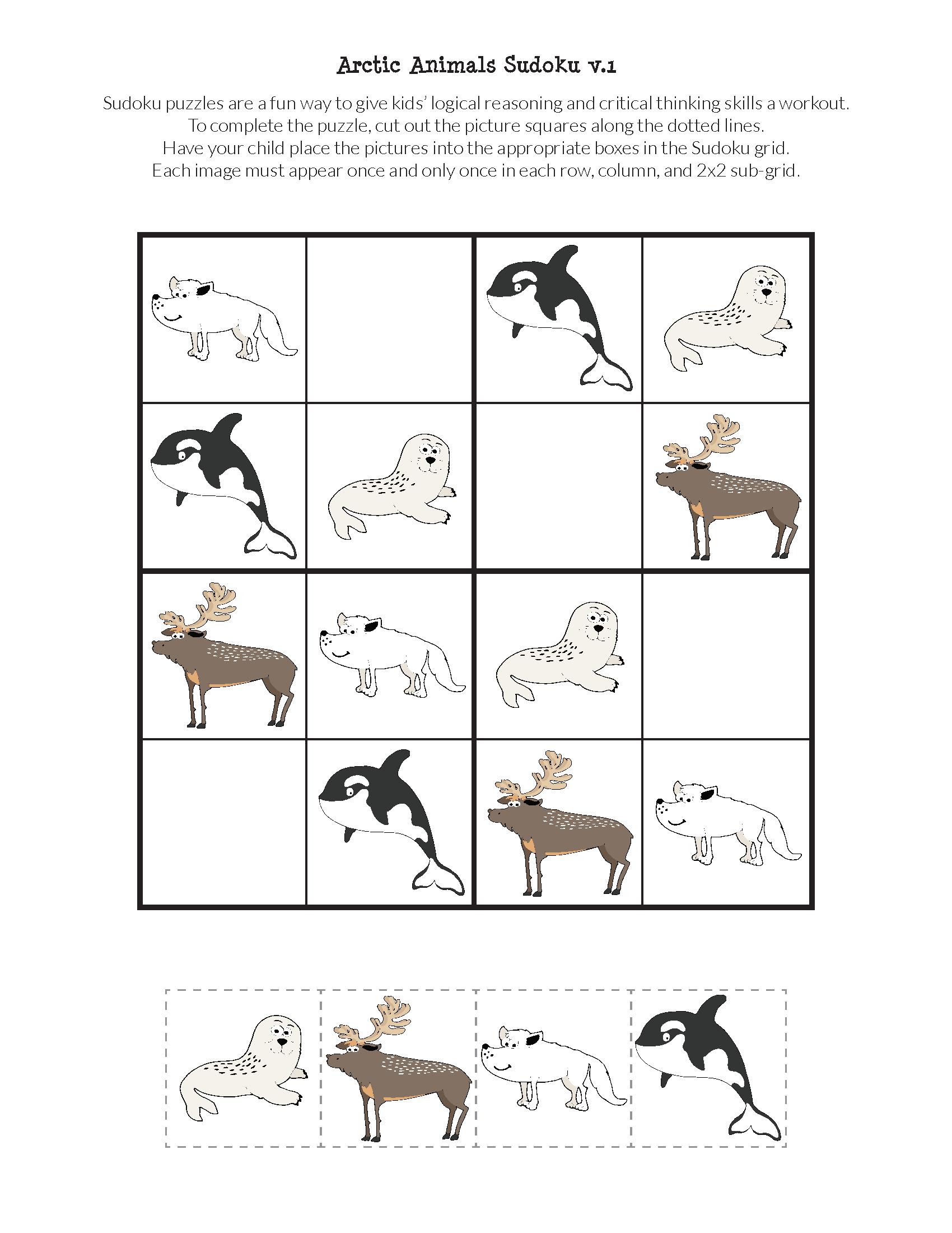 Arctic Animals Sudoku {Free Printables} - Gift Of Curiosity - Free Printable Animal Puzzles