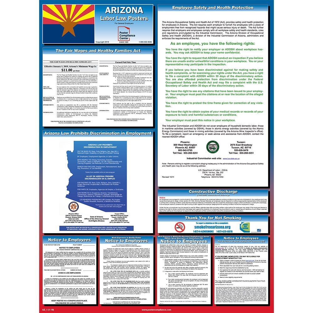 Arizona Labor Law Posters 2019 | Poster Compliance Center - Free Printable Osha Safety Posters