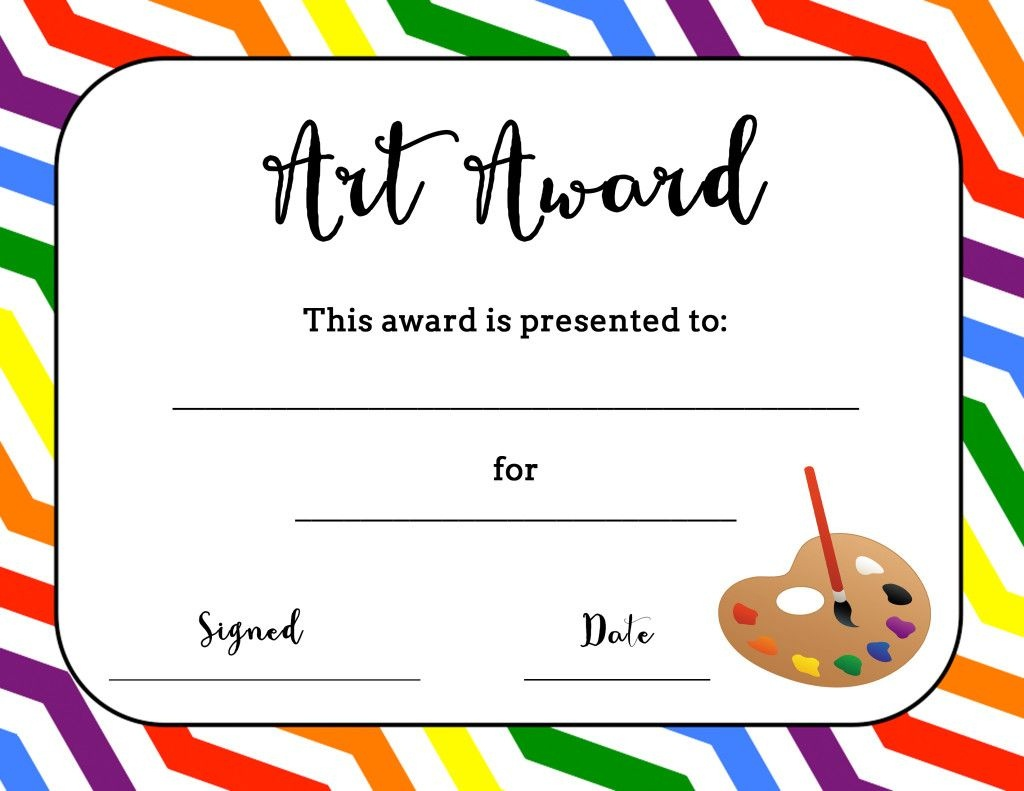 Art Award Certificate (Free Printable) | Art | Elementary Art, Free - Free Printable Reward Certificates