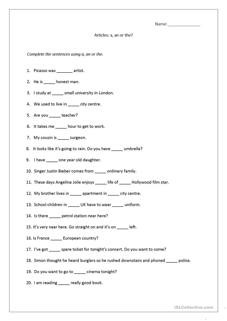 Articles Worksheet (A, An, The) Includes Answers. Worksheet - Free - Free Printable French Grammar Worksheets