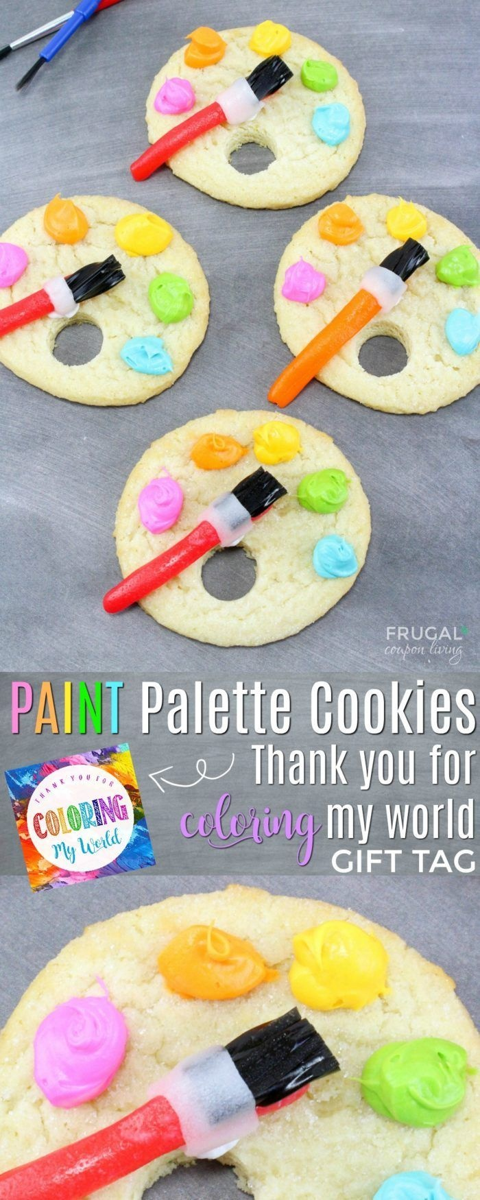 Artist Paint Palette Cookies Plus Bonus Printable Gift Tag | Recipe - Free Printable Paint Palette