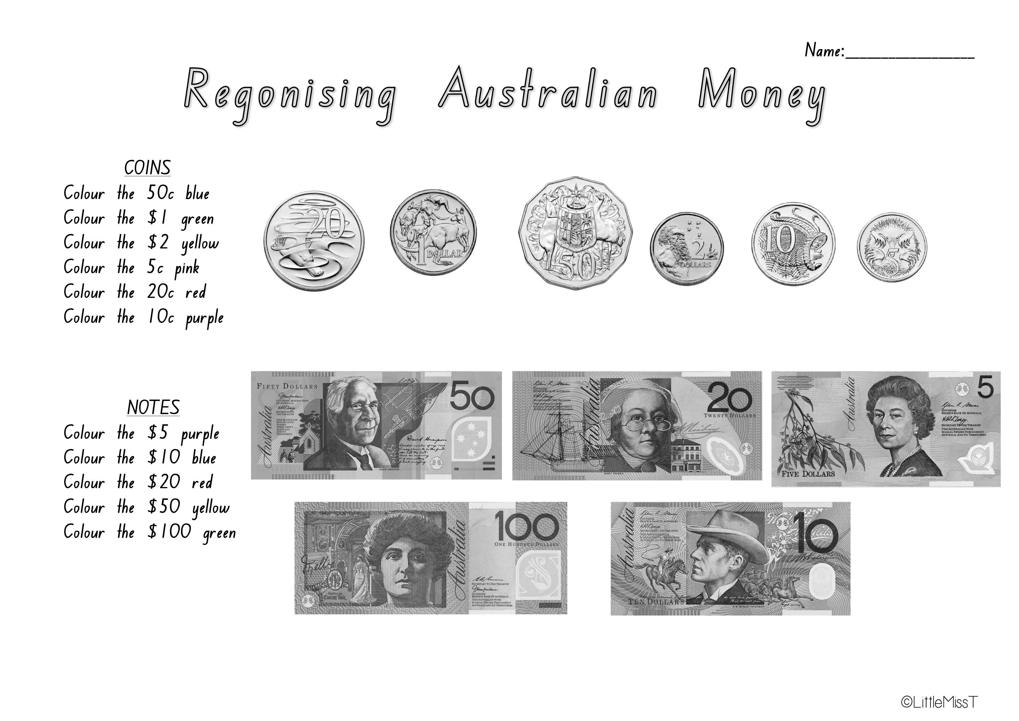 Australian Money Worksheets | Teach In A Box - Free Printable Australian Notes