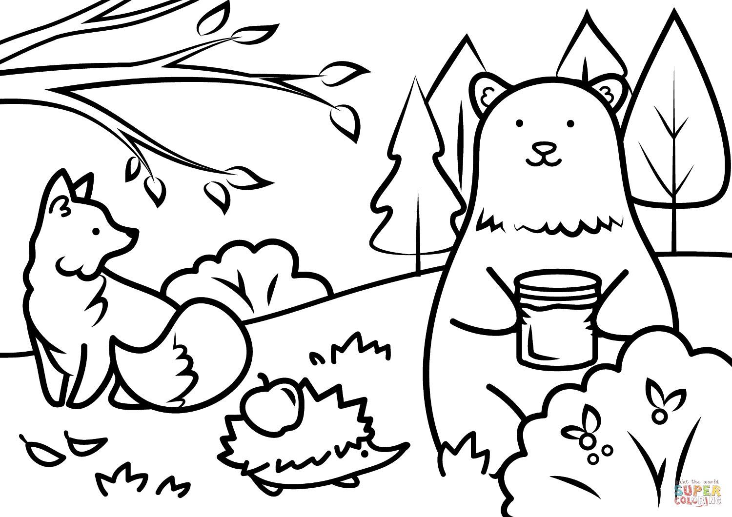 Autumn Animals Coloring Page | Free Printable Coloring Pages - Fall Printable Coloring Pages Free