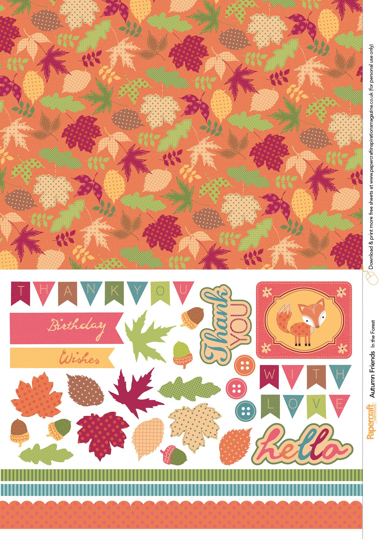 Autumn Friends Free Printables From Papercraft Inspirations Issue - Free Printable Fall Scrapbook Paper