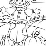Autumn Scene With Scarecrow Coloring Page | Free Printable Coloring   Fall Printable Coloring Pages Free