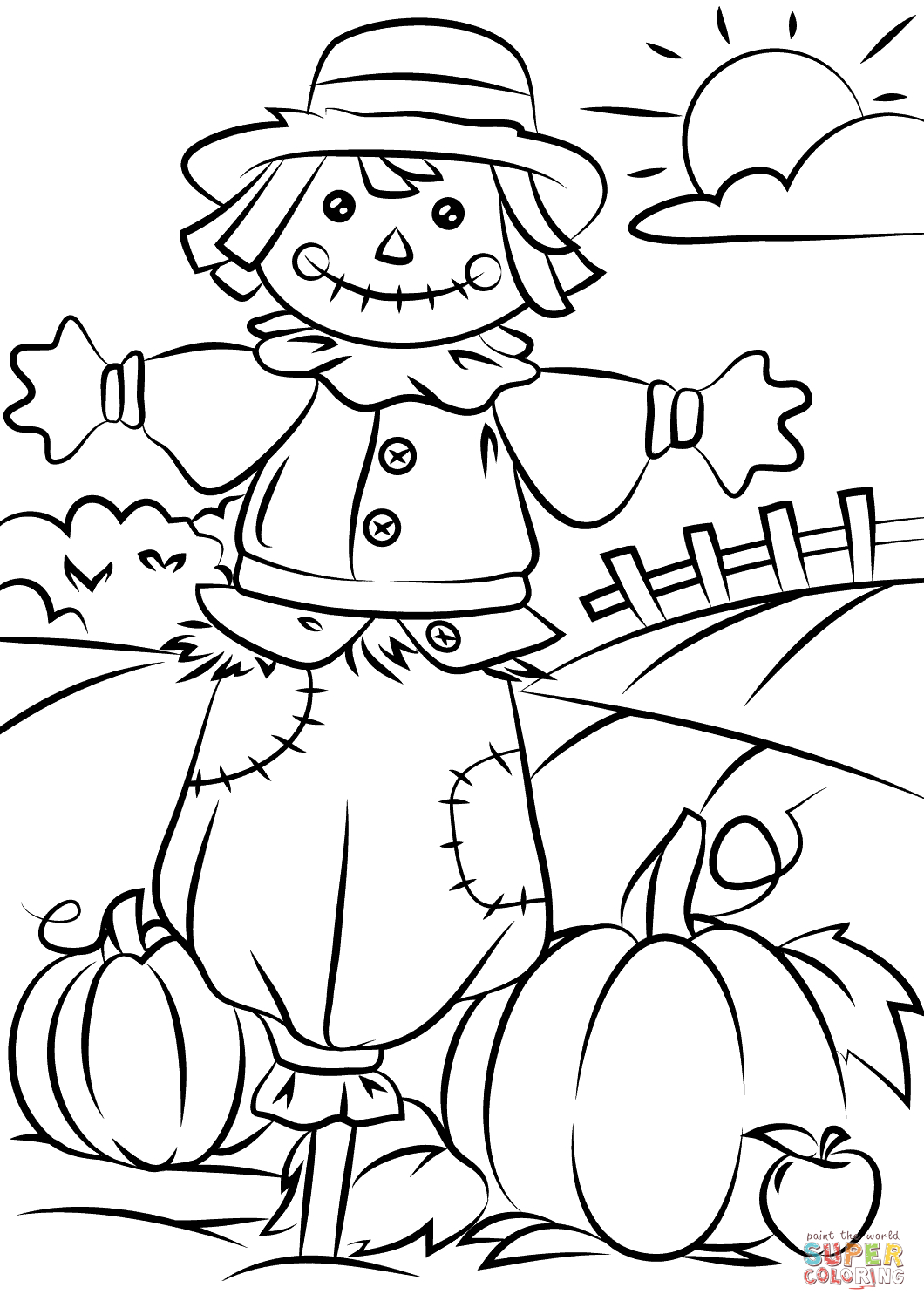 Autumn Scene With Scarecrow Coloring Page | Free Printable Coloring - Free Printable Coloring Pages Fall Season