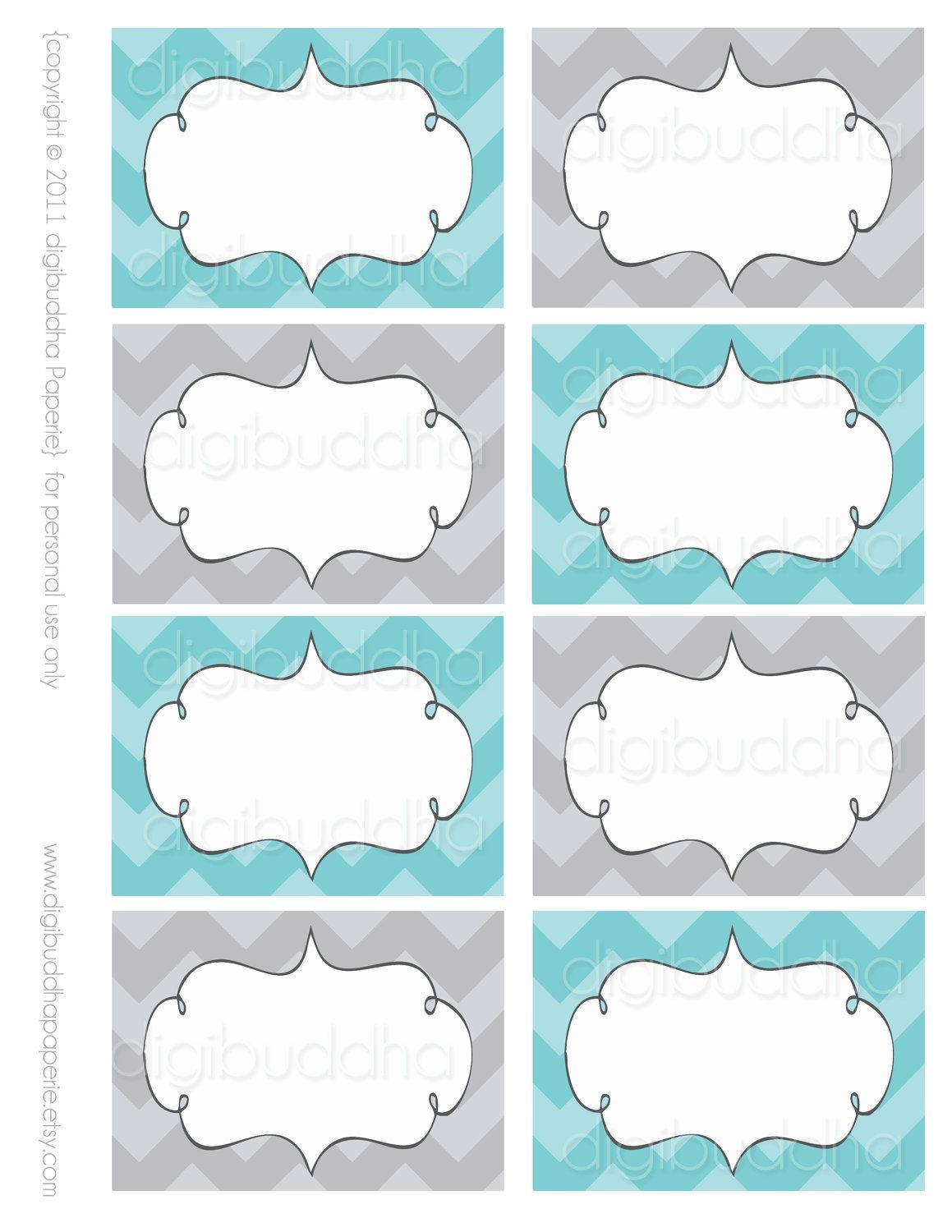 Ava Modern Chevron Candy Buffet Food Mailing Labels Cards. Printable - Free Printable Food Tags For Buffet