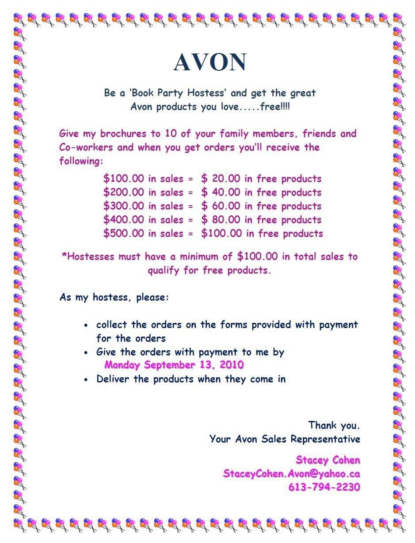 Avon Party Hostess$ | Avon | Avon, Avon Brochure, Avon Party Ideas - Free Printable Avon Flyers