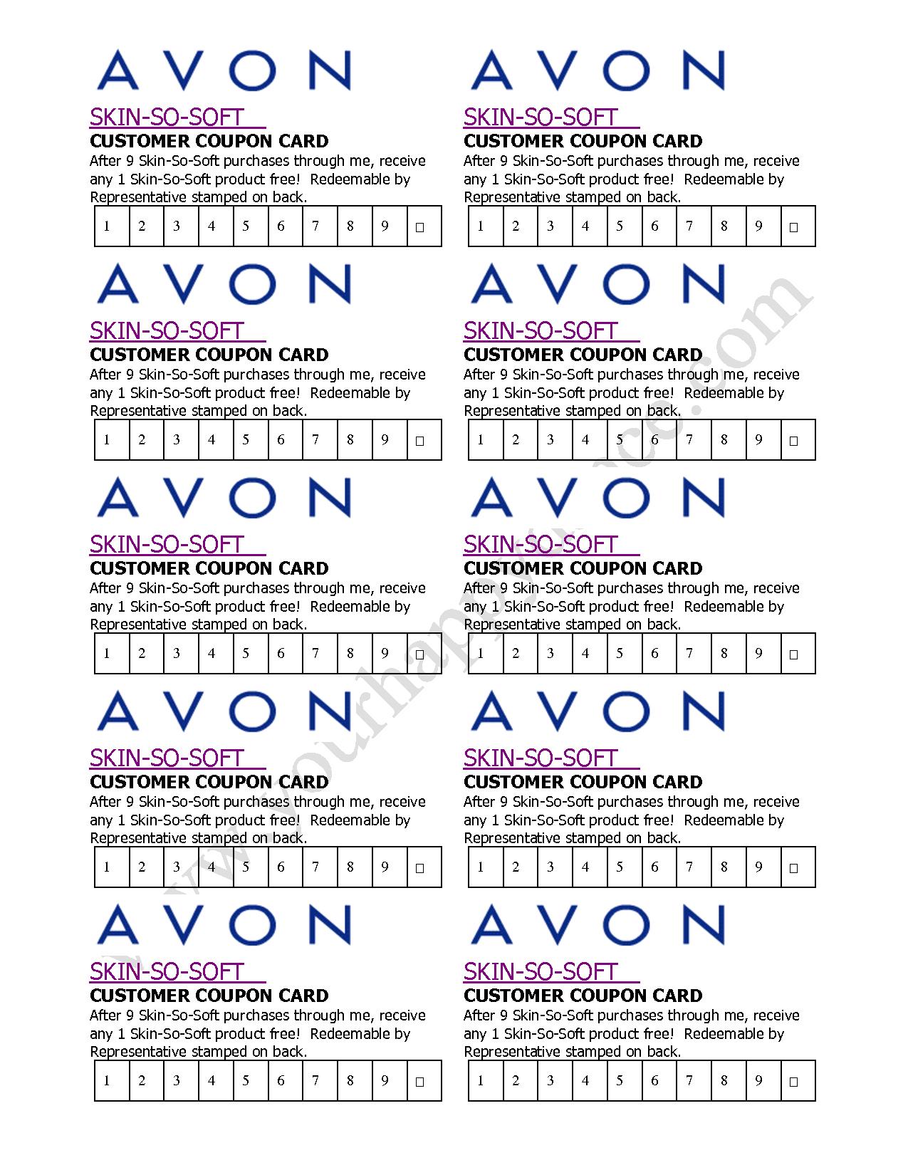 Avon Skin So Soft Coupon Card  … | Avon In 2019… - Free Printable Avon Flyers