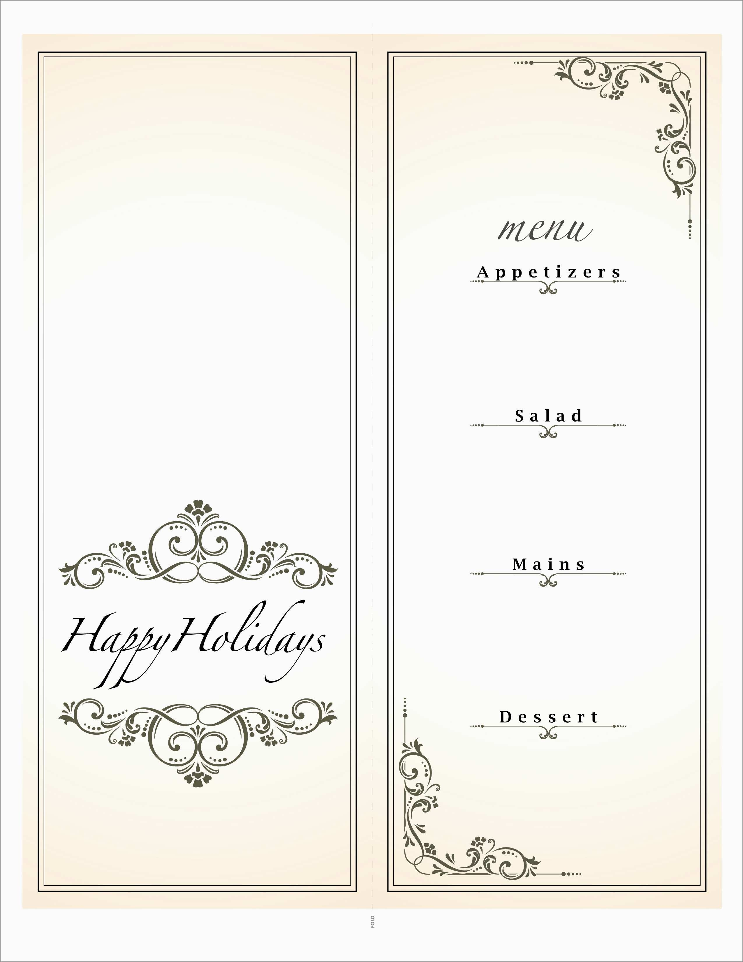 Awesome Free Printable Holiday Menu Template | Best Of Template - Free Printable Christmas Dinner Menu Template