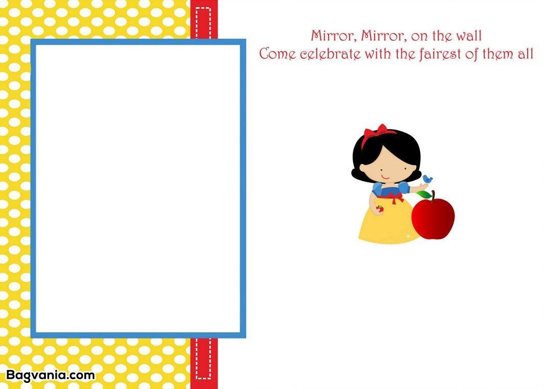 Awesome Free Printable Snow White Birthday Invitations | Incentive - Snow White Invitations Free Printable