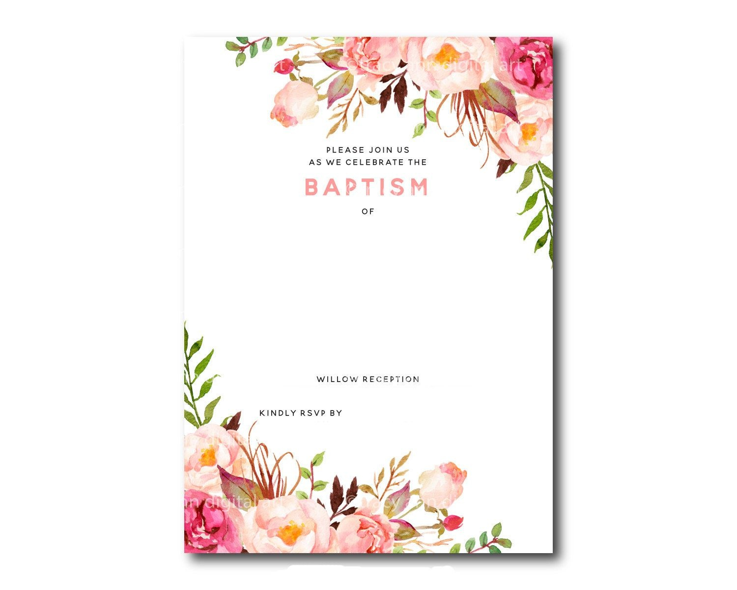 Awesome Free Template Free Printable Baptism Floral Invitation - Free Printable Baptism Greeting Cards