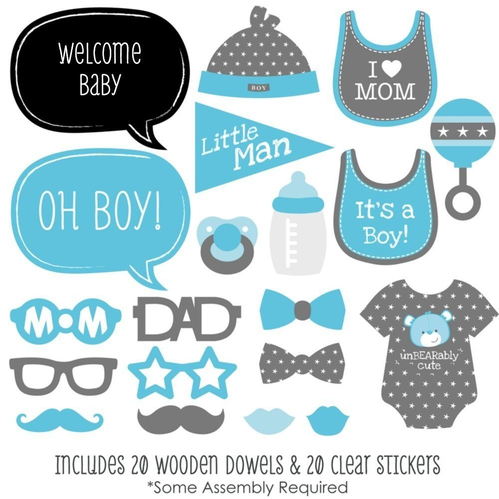 Baby Boy - Baby Shower Photo Booth Props Kit - 20 Count | Clip Art - Free Printable Baby Shower Photo Booth Props