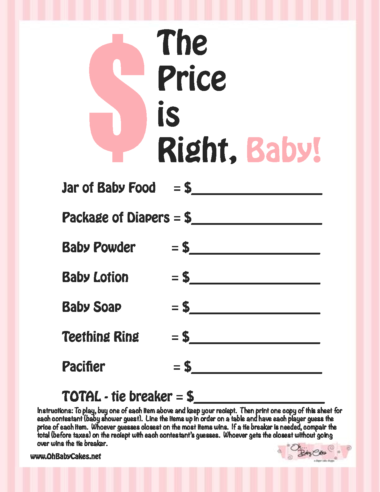 Baby Boy Shower Agreeable Free Printable Baby Shower Games For Large - Free Printable Price Is Right Baby Shower Game