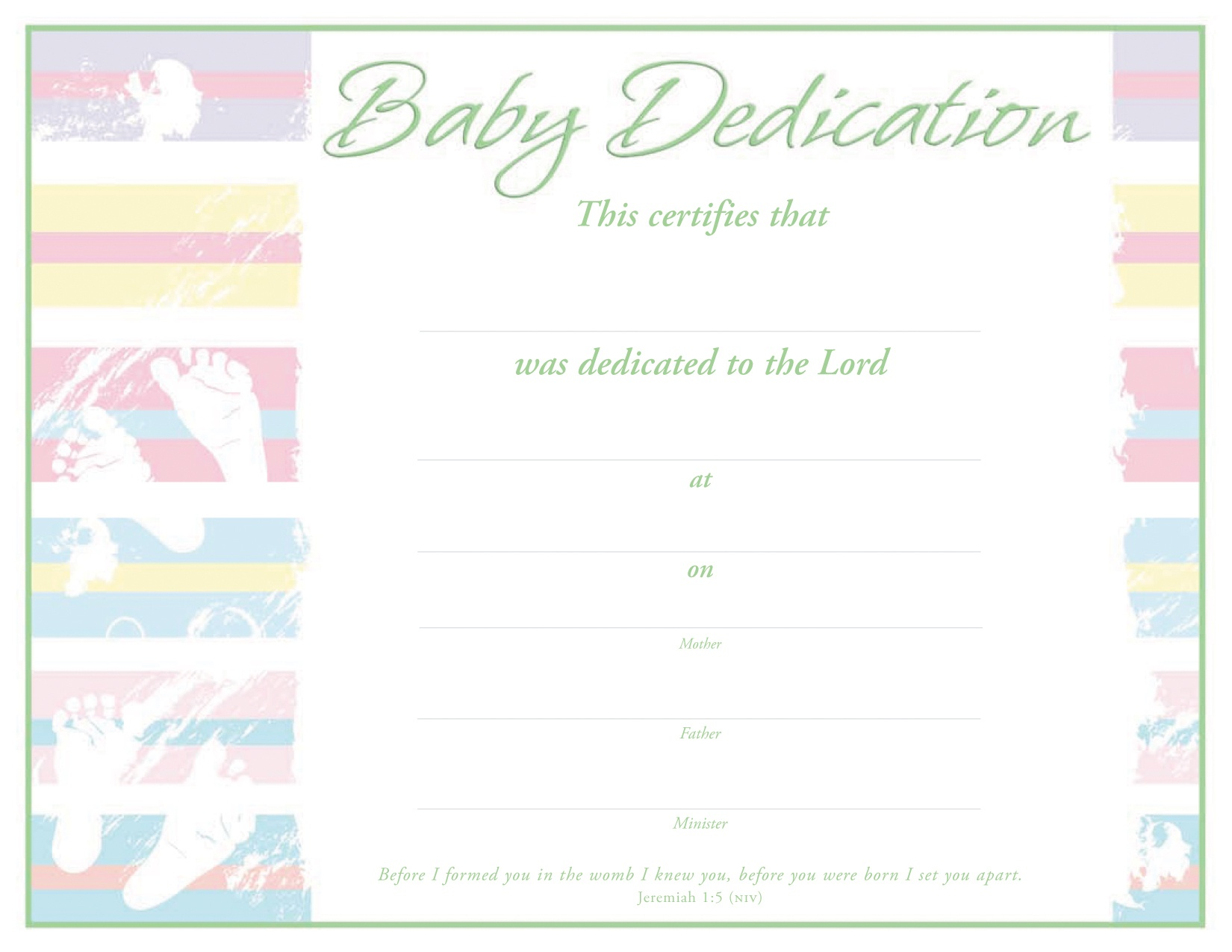 Baby Dedication Certificate - Certificate - Dedication - Christian - Free Baby Dedication Certificate Printable