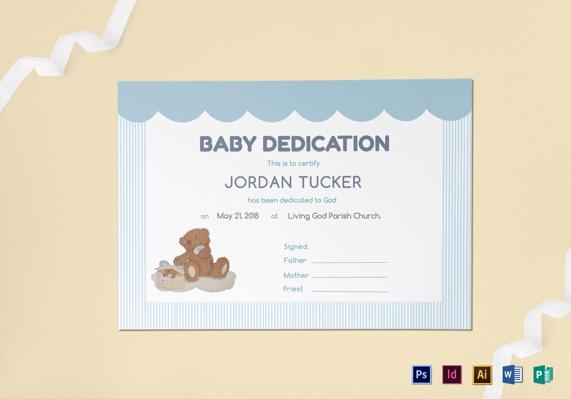 Baby Dedication Certificate Design Template In Psd, Word, Publisher - Free Baby Dedication Certificate Printable