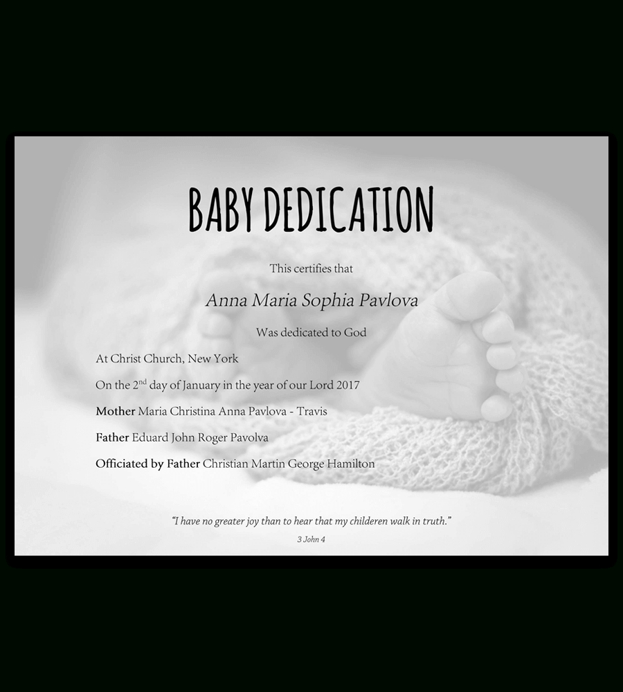 Baby Dedication Certificate Template For Word [Free Printable] - Free Baby Dedication Certificate Printable