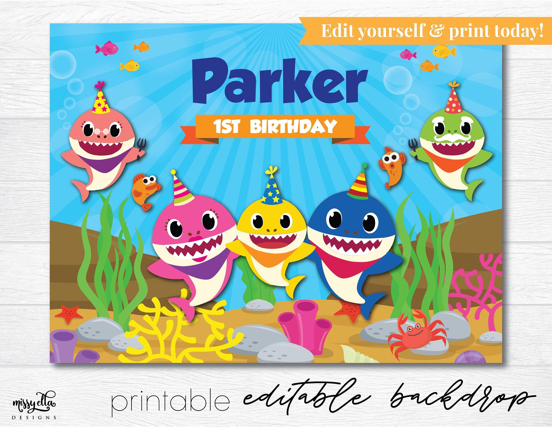 Baby Shark Backdrop Editable Pdf, Printable Backdrop, Baby Shark - Free Baby Shark Printables