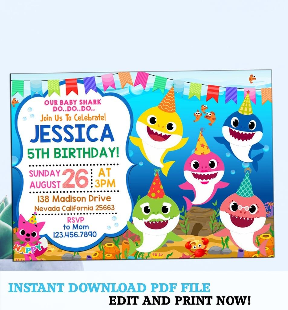 Baby Shark Party Invitation | Baby Shark Party Supplies | Popsugar - Shark Invitations Free Printable