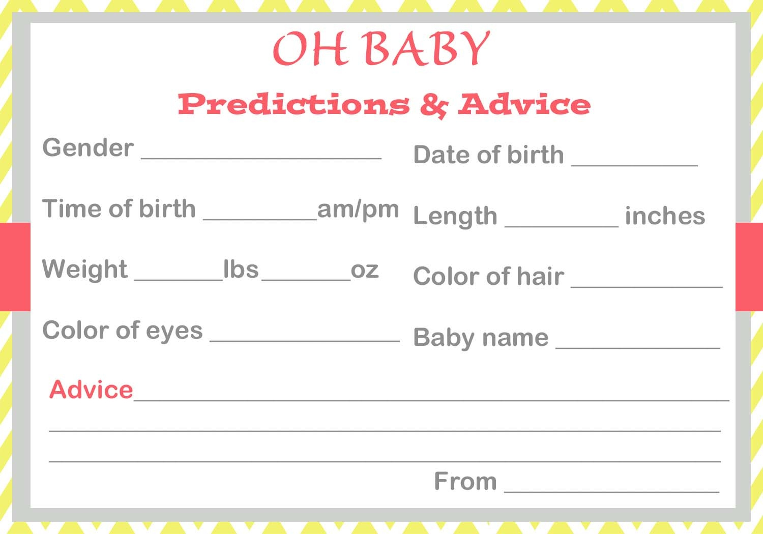 Baby Shower Baby Prediction Cards - Baby Prediction And Advice Cards Free Printable