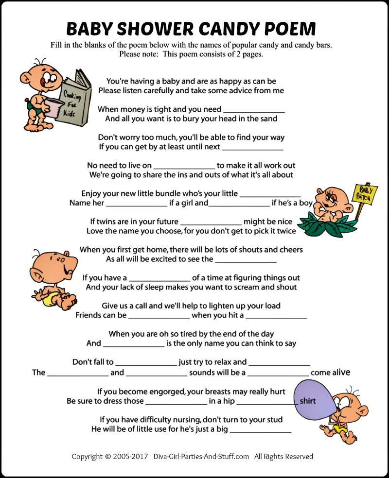 Baby Shower Candy Poem Game - Candy Bar Baby Shower Game Free Printable