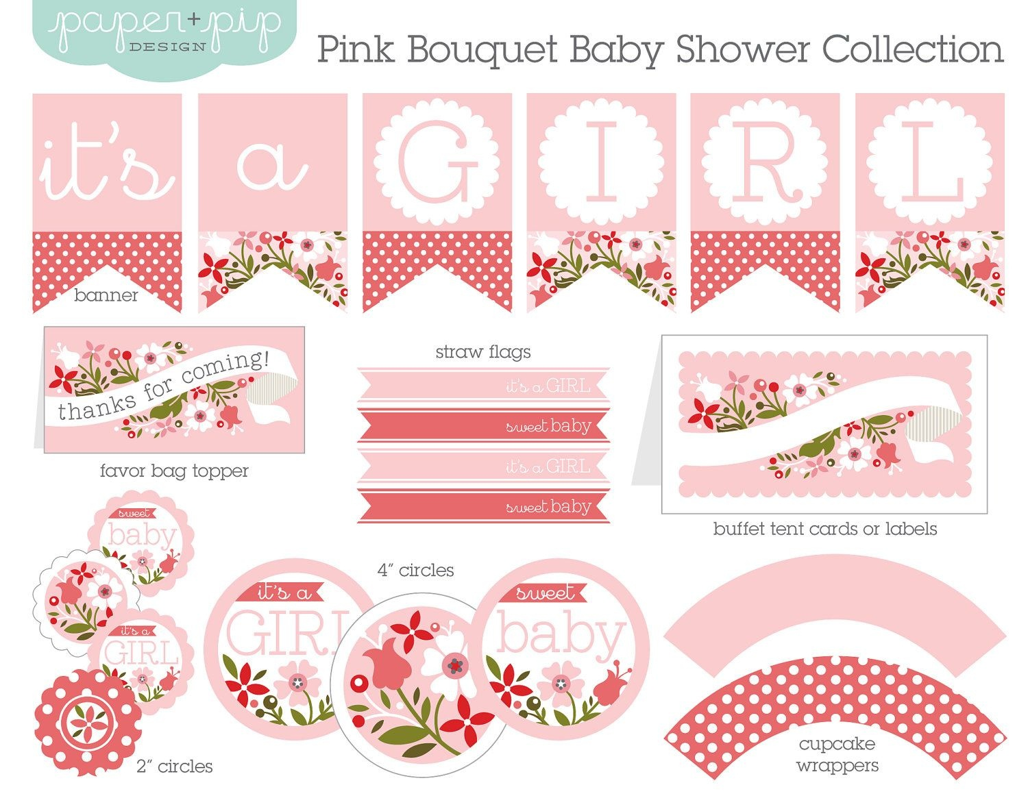 Baby Shower Decorations Printable Pink Bouquetpaperandpip - Free Baby Shower Printables Decorations