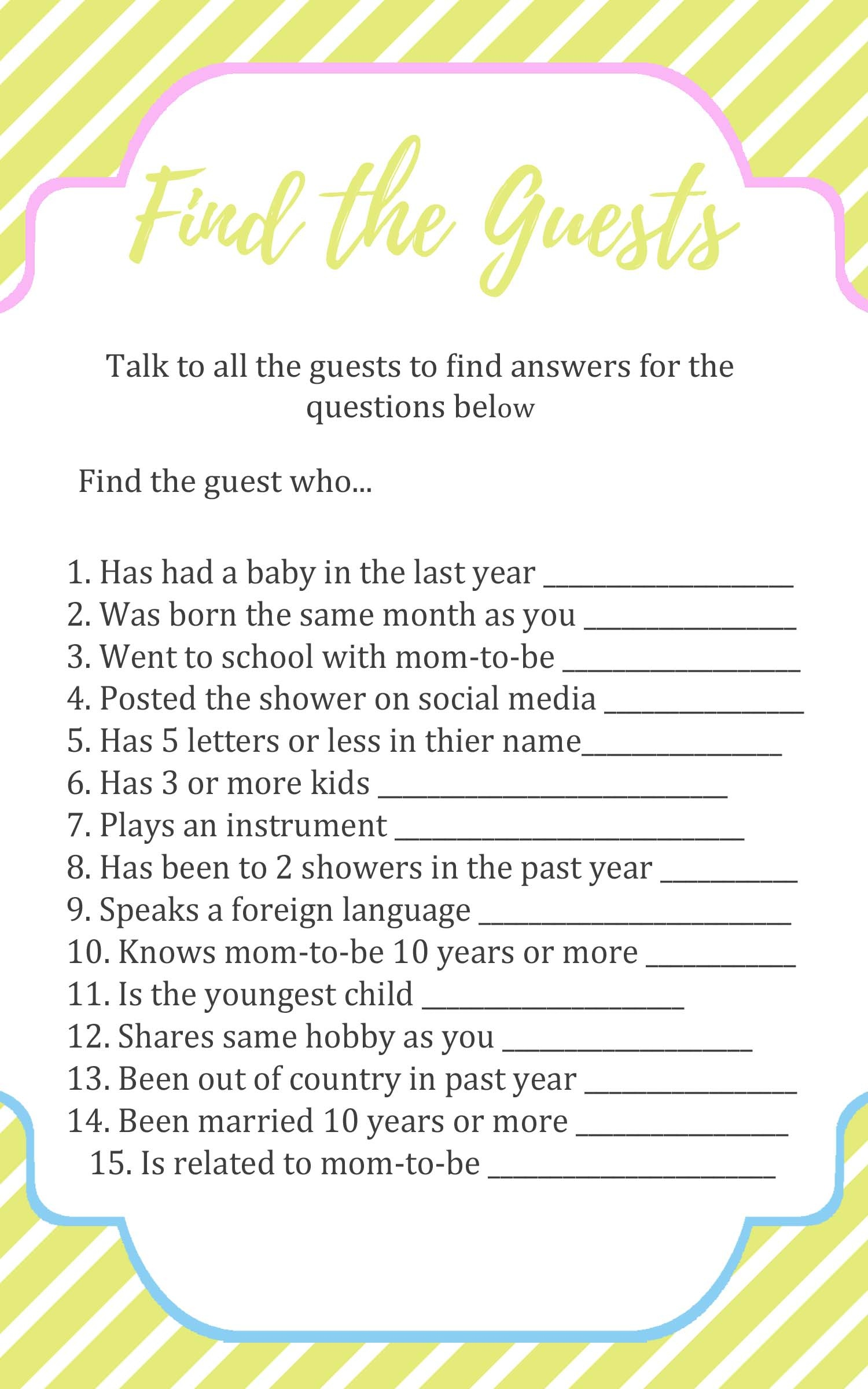 Baby Shower Ice Breaker Games - Find The Guest Game Free Printable