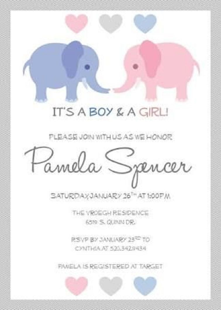 Baby Shower Invitations For Twins Free Printable | Party Invitation - Free Printable Baby Shower Cards Templates