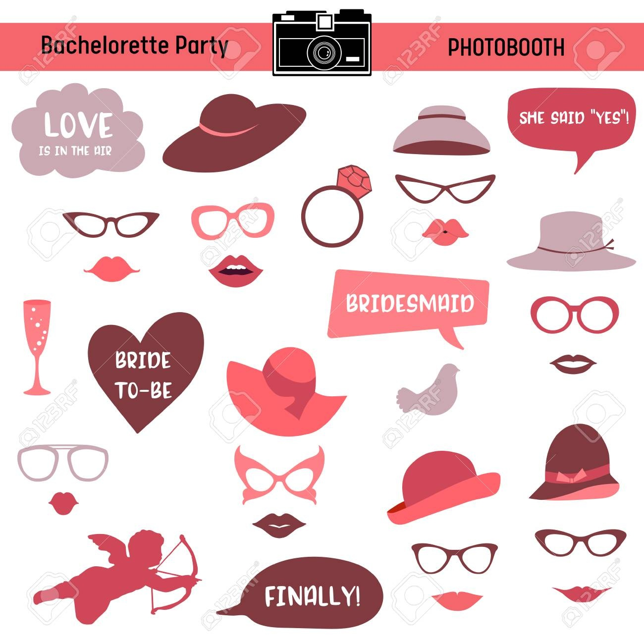 Bachelorette Event, Hen Party, Bridal Shower Printable Glasses - Free Printable Photo Booth Props Bridal Shower
