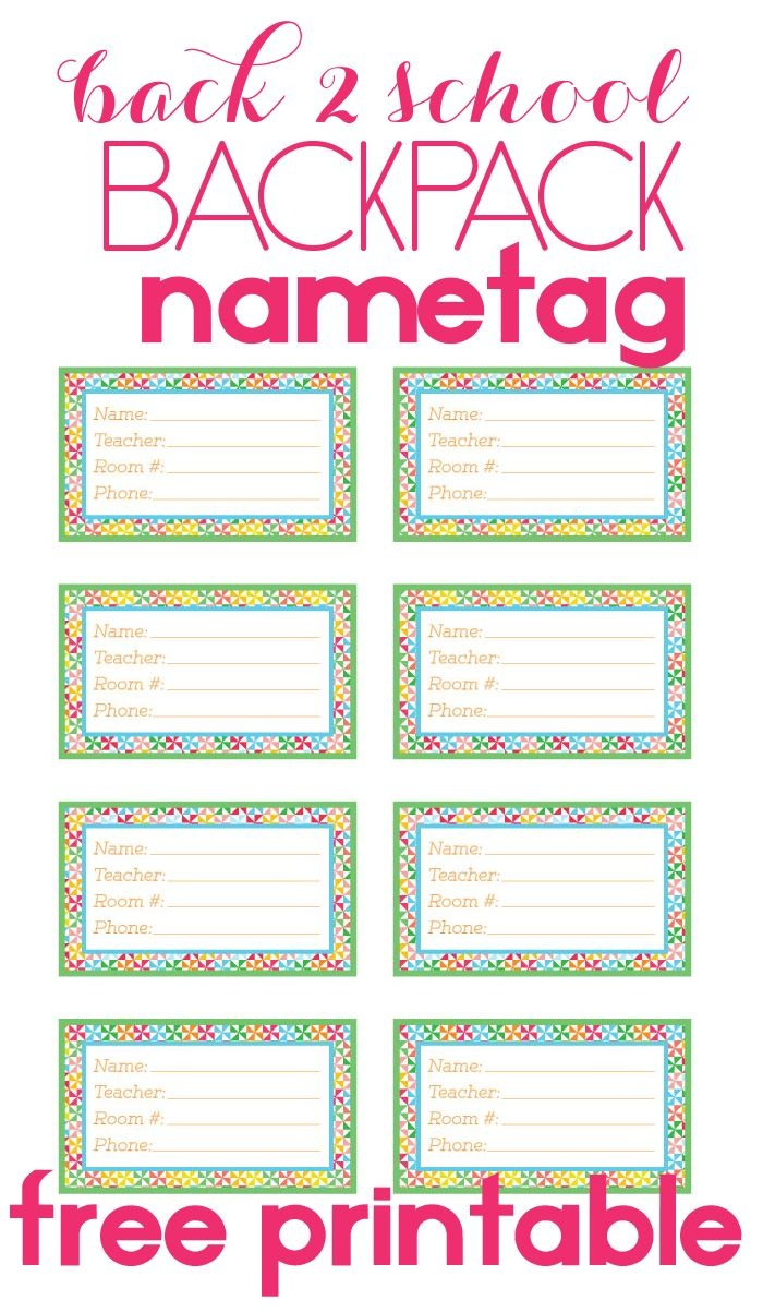 Back To School Backpack Name Tag | Diy Products | School Backpacks - Free Printable Name Tags For Students