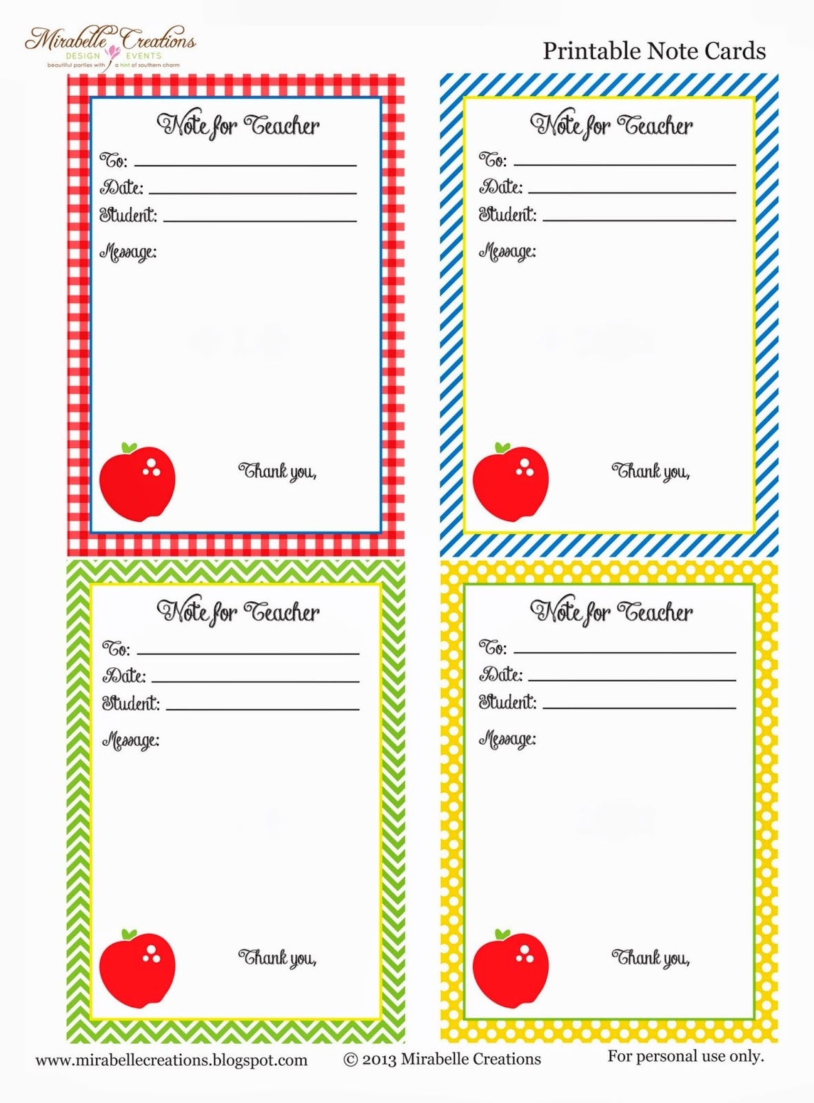 Back To School} - Free Printable Note For Teacher Cards - Mirabelle - Free Printable School Notes