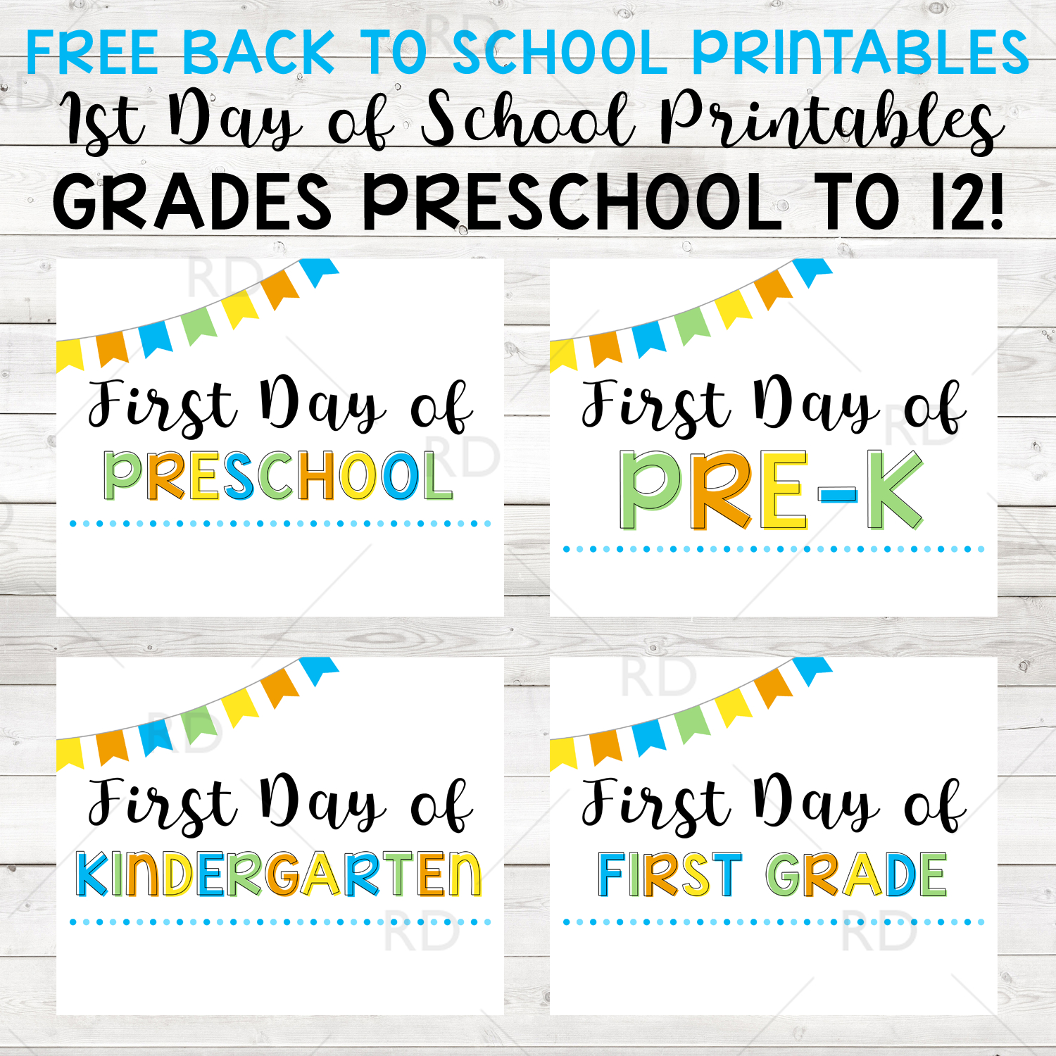 Back To School Free Printables! First Day Of School Grades Preschool - Free School Printables