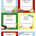 Back To School Labels For Kids | Printables, Freebies, Diy | School   Free Printable Name Tags For School Desks