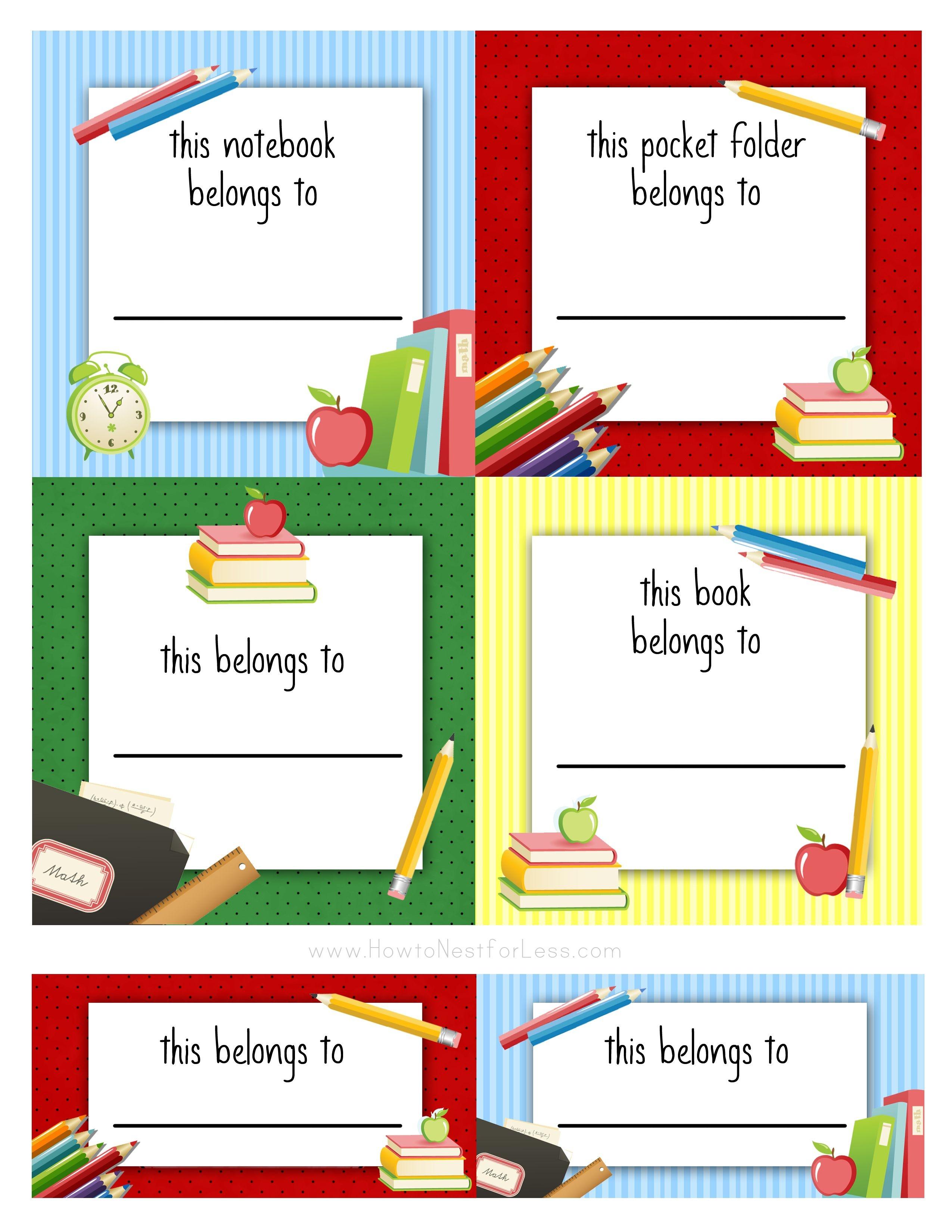 Back To School Labels For Kids | Printables, Freebies, Diy | School - Free Printable Name Tags For School Desks