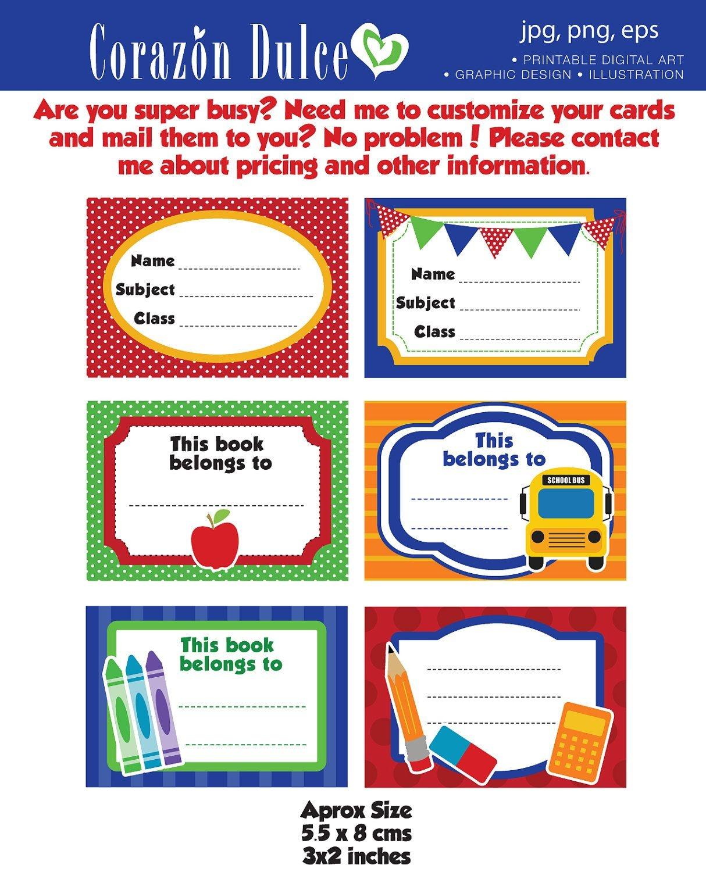 Back To School Labels- Printable School Labels /tags, Book Labels - Free Printable Name Labels For Kids