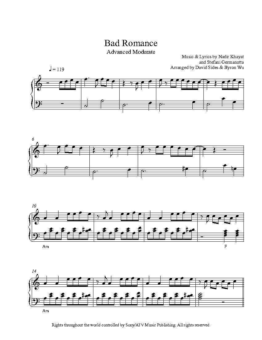 Bad Romancelady Gaga Piano Sheet Music   Advanced Level - Bad Day Piano Sheet Music Free Printable