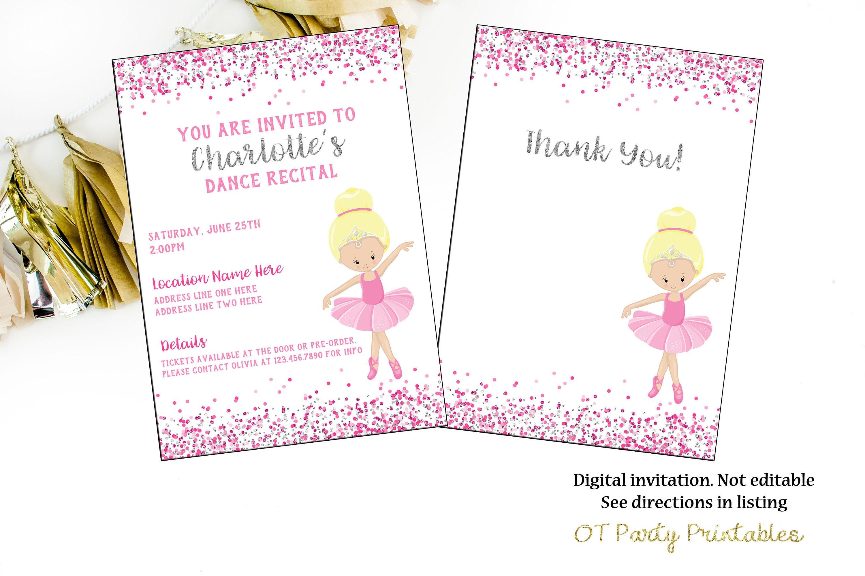 Ballet Recital Invitation Dance Digital Invite Ballerina | Etsy - Free Printable Dance Recital Cards
