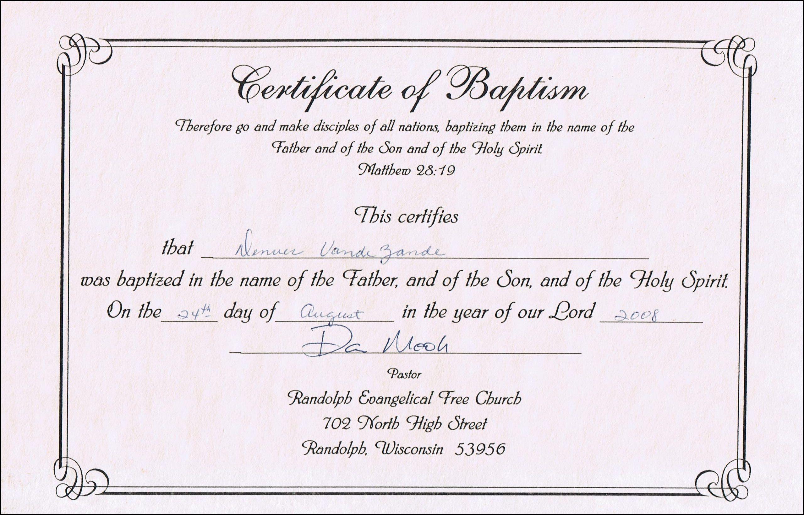 Baptism Certificates Free Online | Denver's Certificate Of Baptism - Free Baby Dedication Certificate Printable