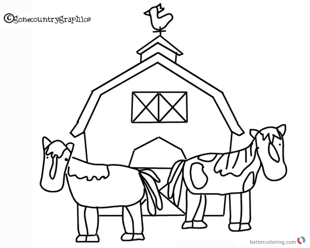 Barn Coloring Pages - Barn Coloring Pages Two Horse And Barn Free - Free Printable Barn Coloring Pages