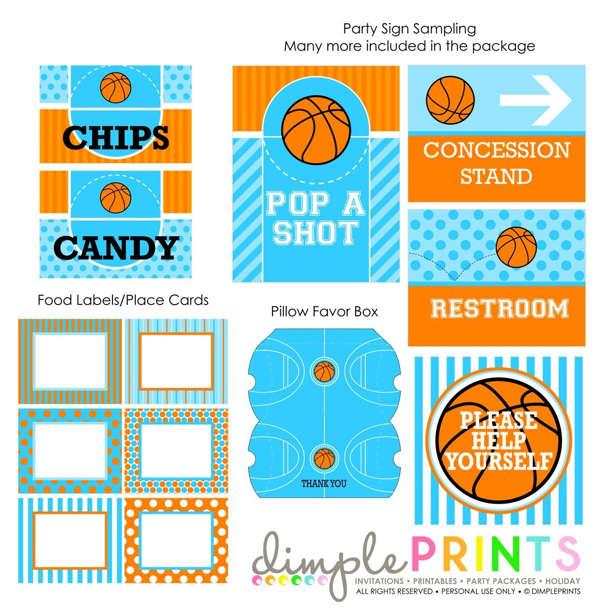 Basketball Deluxe Printable Party Package | Basketball Party | Party - Free Printable Basketball Labels
