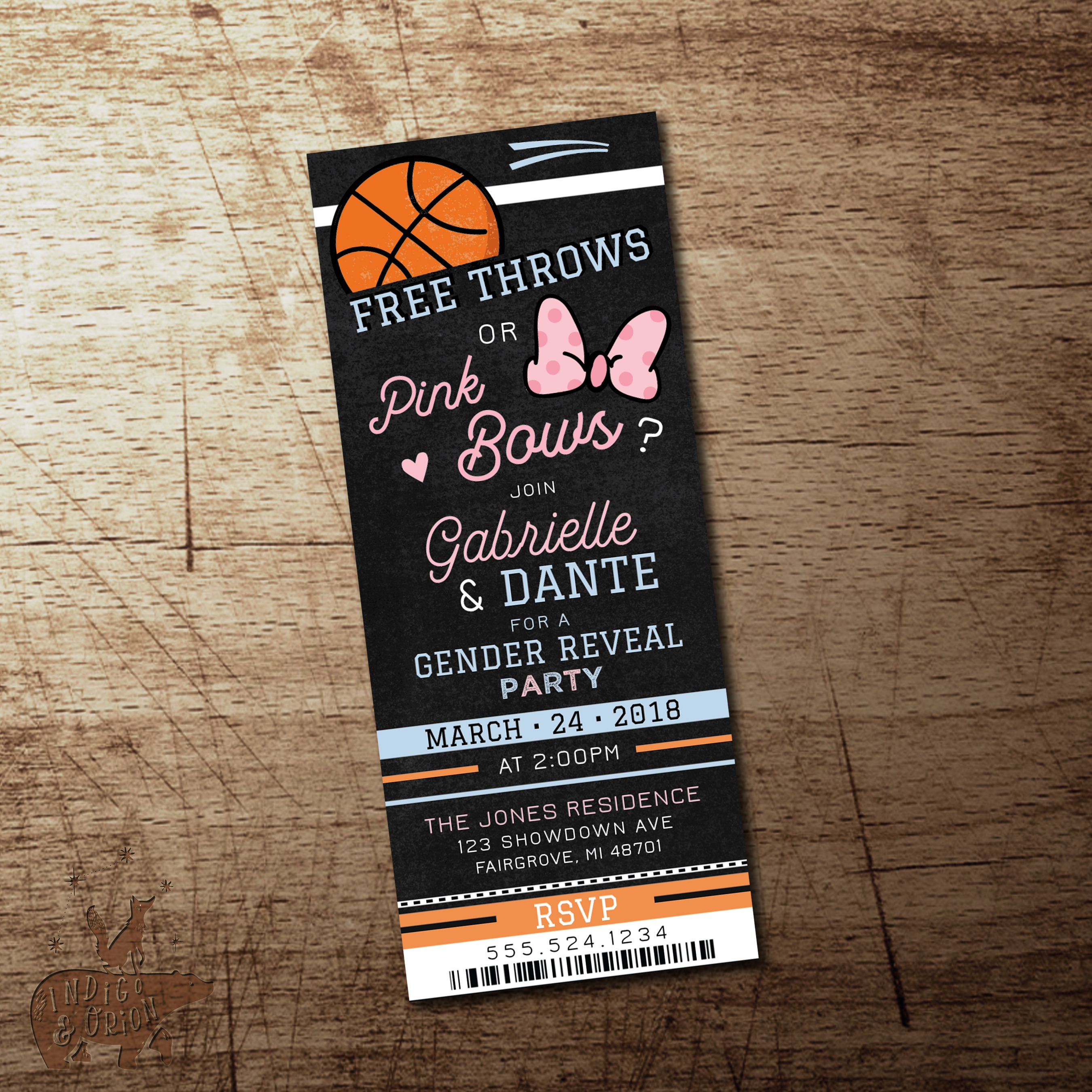 Basketball Gender Reveal Invitation Free Throws Or Pink Bows | Etsy - Free Printable Gender Reveal Invitations