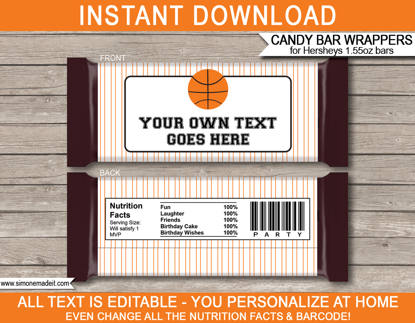 Basketball Hershey Candy Bar Wrappers | Personalized Candy Bars - Free Printable Birthday Candy Bar Wrappers